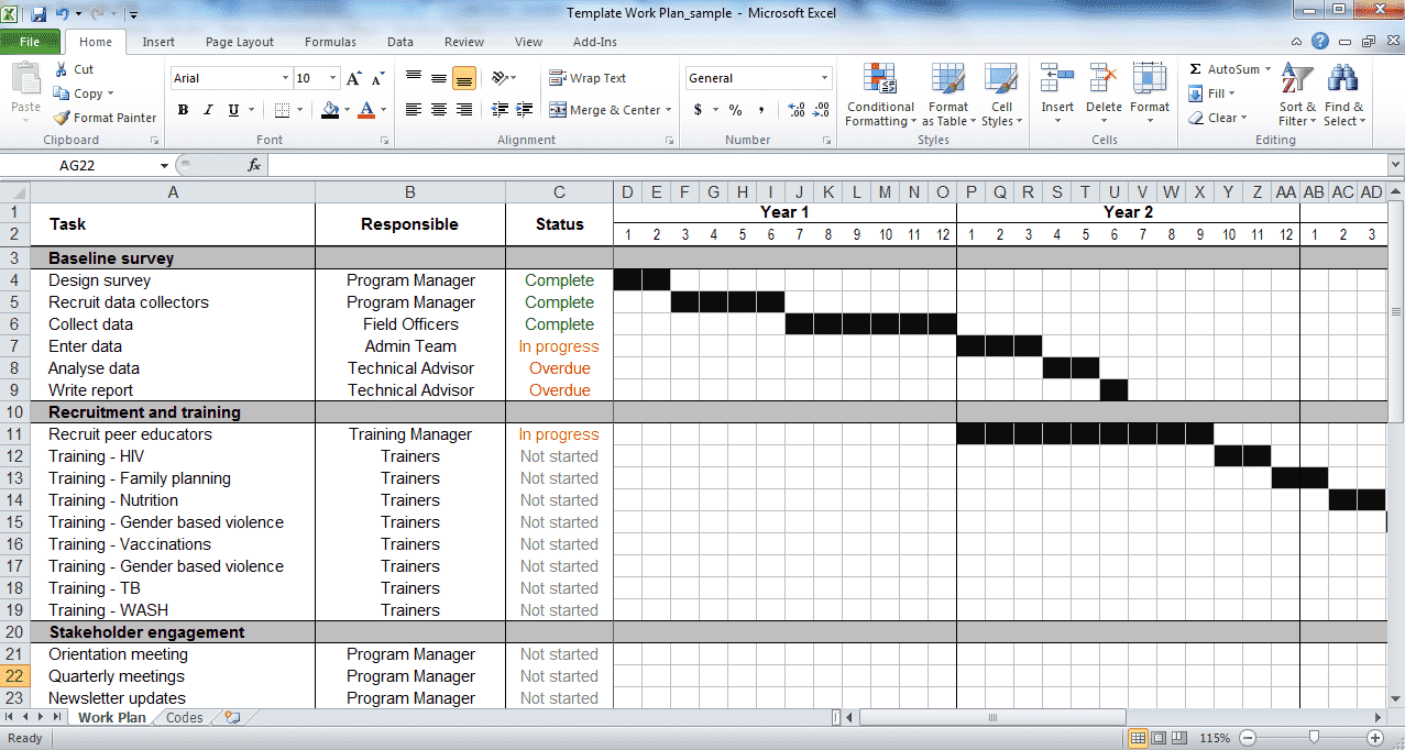project management calendar excel