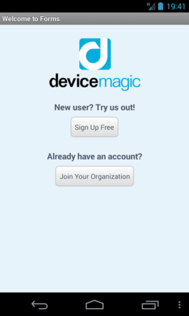 Device Magic Mobile Forms - Android screenshot of welcome screen