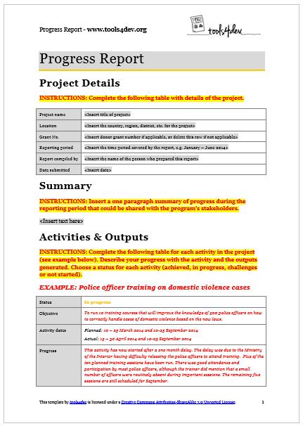 Progress Reporting Template Progress Report Template  Tools4Dev