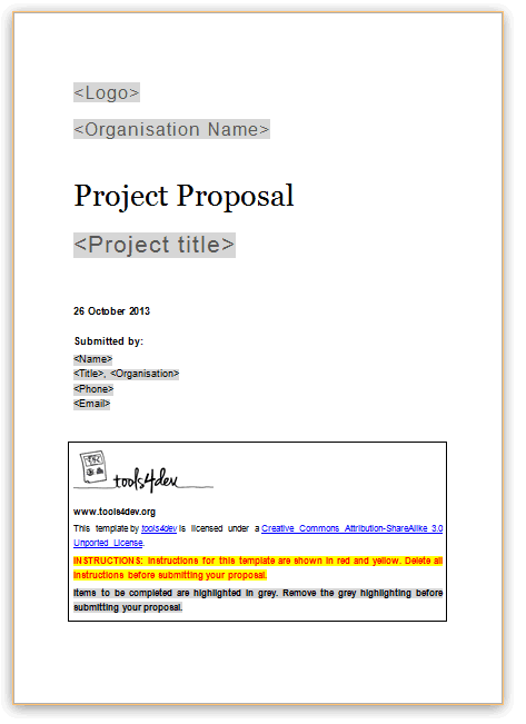 proposal template proposal template grant proposal project proposal