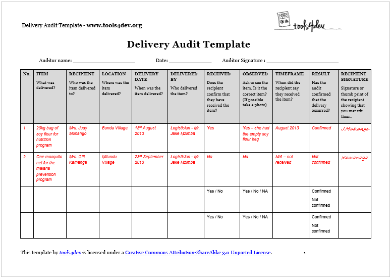 delivery audit template screenshot