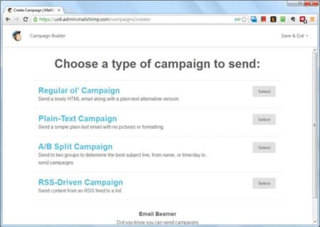 Create your campaign in MailChimp