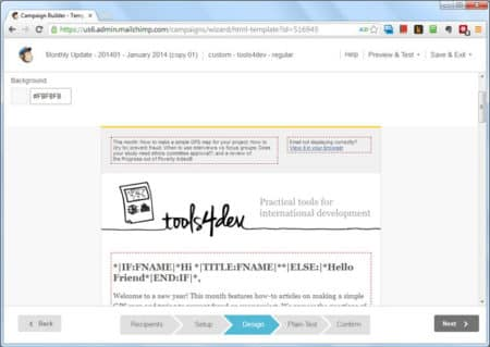 A campaign in MailChimp