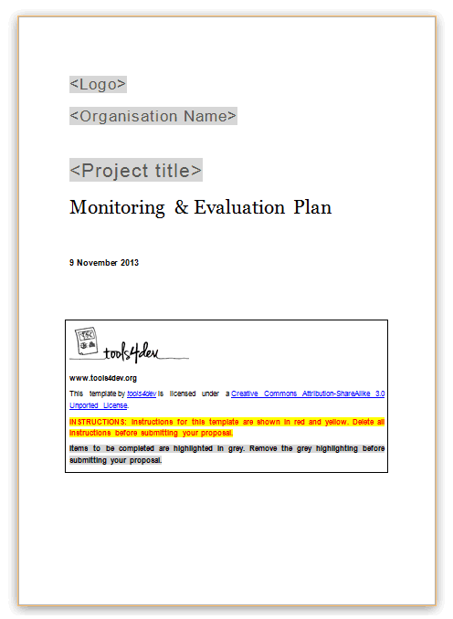 Monitoring and evaluation ME plan template – Evaluation Plan
