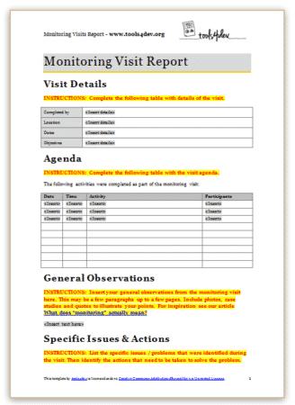 Monitoring Visit Report Template Screenshot