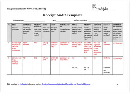 Receipt Audit Template Screenshot